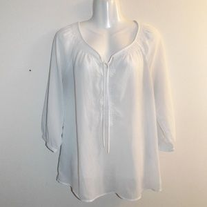 Old Navy M White Boho Blouse